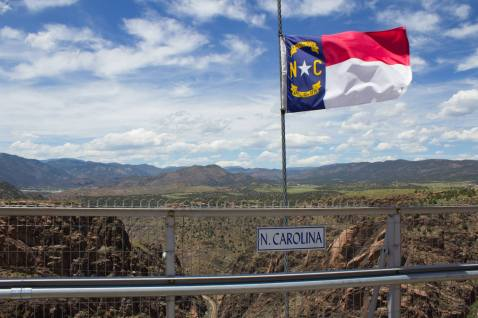 The North Carolina state flag on the Royal Gorge Bridge - the bridge has the flags of all 50 states along its 1,270 feet