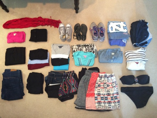 All of the clothes and accessories that I'm bringing with me