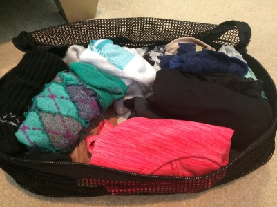 The other small packing cube - filled with underwear, socks, tights, sports bras and a camp