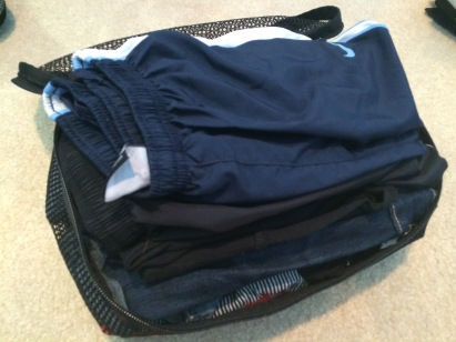 One of the small packing cubes - filled with my shorts and skirts