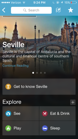 The main page for a city - you'll see there are suggestions for things to do, eat, or see and for places to stay.
